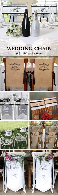 Wedding Chair Decoration Ideas - banners, sashes, signs and more.  Make your head table amazing!