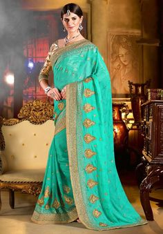 Blue Designer Sarees, Bemberg, Georgette Designer Sarees, $93.80. Buy latest Designer Sarees with custom stitching and worldwide shipping.