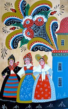 Swedish Folk Art. Dancing women   --   Leif Sodergren Swedish Folk Art