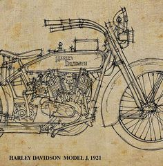 Poster art HARLEY DAVIDSON J  1921. Poster Quote Keep by drawspots, $42.00