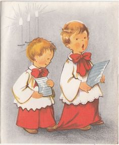 Vintage Greeting Card Christmas Choir Boys Children Singing r243