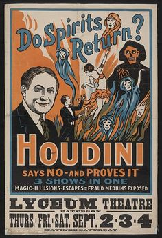 At the same time, more and more people were turning to Spiritualism in the hopes of reconnecting with their long-lost loved ones. Houdini was one of the biggest challengers to the movement, but he still knew his escape act was what would get people through the door — so in 1909, he did magic, illusions and a bit of fraud-busting all in one great show.