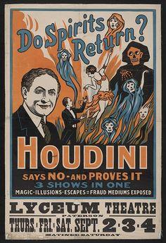Vintage Harry Houdini Magic Show Trick Poster Spirits Return Illusion Print 731 Posters Vintage, Retro Poster, Vintage Images, Custom Posters, Vintage Trends, Vintage Graphic, Pub Vintage, Vintage Circus, Vintage Travel