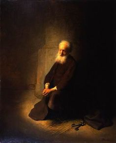 Rembrandt van Rijn Dutch, 1606-1669 St. Peter in Prison (The Apostle Peter Kneeling) Oil on panel 59 x 47.8 cm Gift of Judy and Michael Steinhardt, New York, to American Friends of the Israel Museum