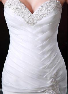 Vestido de novia Gorgeous organza de raso sirena con cuentas de encaje Applliques
