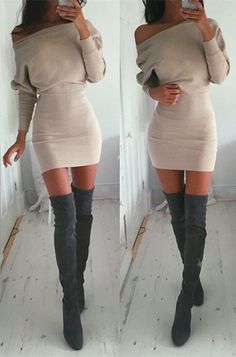I like this sweater dress outfit better if the boots weren't over knee and there was tights