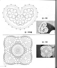 crochet heart plus loads of flowers Crochet Diagram, Freeform Crochet, Crochet Chart, Thread Crochet, Crochet Motif, Irish Crochet, Crochet Doilies, Crochet Flowers, Hand Crochet