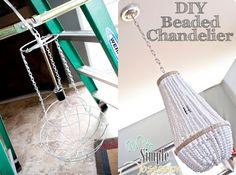diy wood beaded chandelier