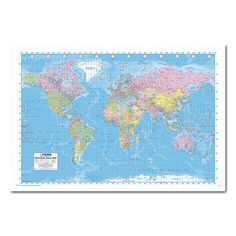 World map poster ye old parchment cork pin memo board beech framed political world map pin board iposters gumiabroncs Image collections