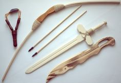 WOODEN TOY SET - SWORD, BOW WITH TWO ARROWS, SLINGSHOT AND CABRE ECOLOGIC 100% /item# G4W8B-48Q51360