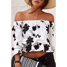 Black Floral Pattern Off-the-Shoulder Blouse (€14) ❤ liked on Polyvore featuring tops, blouses, off shoulder tops, floral blouse, off-the-shoulder blouses, floral off the shoulder top and floral tops
