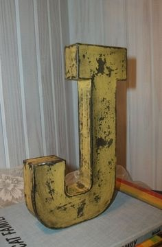 Paper Mache Letter J    Distressed Mustard Yellow with Black Accents