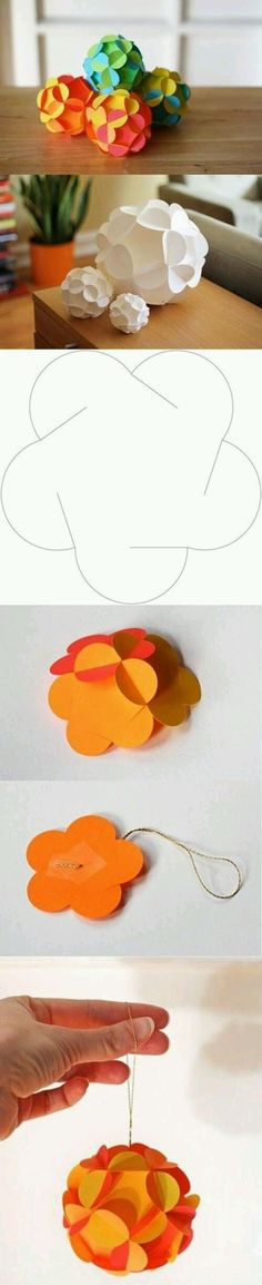 折纸DIY 漂亮手工花球