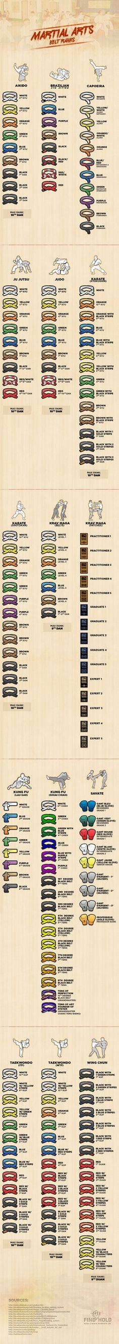 Martial Arts Belt Ranks, Found on http://www.mmaverse.com Pinned by http://kungfumovieshop.com