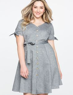 Button Down Fit and Flare Dress from eloquii.com