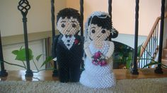 3d Origami Bride and Groom. $280.00, via Etsy.