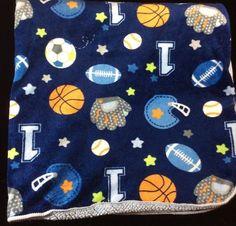 Circo Navy Blue Sports Baby Blanket Football Baseball Soccer Sherpa Balls #Circo