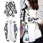 Women Geometric Pattern Oversized Open Front Loose Sweater Wrap Cape Cardigan