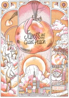 James & the Giant Peach - Art Print 4 colour screenprint made for Galerie F in Chicago as part of their Roald Dahl inspired show, 'The Fantasti. Roald Dahl, Oakland Zoo, James And Giant Peach, Peach Tattoo, Aesthetic Objects, Typography Images, Peach Aesthetic, Before Midnight, Art Projects