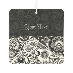 Bold Black and White Floral Design Air Freshener
