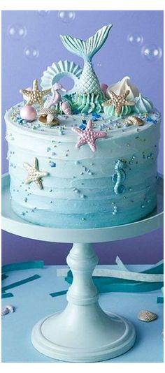 Mermaid Party Food, Mermaid Birthday Cakes, Birthday Cake Girls, Birthday Ideas, Mermaid Parties, 26th Birthday, Pretty Cakes, Cute Cakes, Beautiful Cakes