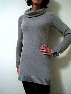 DIY Tutorial - Transform an XXL man's sweater from thrift store into tunic with cowl neck for us gals ~~~
