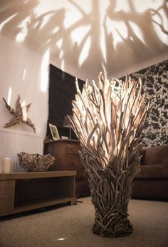 Driftwood Floor Lamp wide More #WoodenLamp #LampMaken