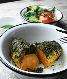 süßkartoffel mit veganem bärlauch-pesto | sweet potato with vegan wild garlic pesto | vegan