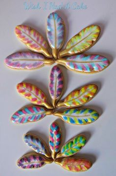 Watercolour Feather Cookies by Wish I Had A Cake