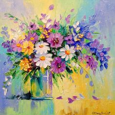 A bouquet of meadow flowers, Paintings, Impressionism, Floral, Canvas,Oil,Painting, By Olha Vyacheslavovna Darchuk