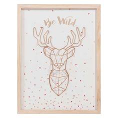 Cuadro con trofeo de ciervo de madera 33 x 44 cm BE WILD