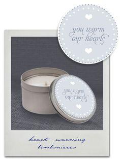 cute wedding favor idea, but maybe do candle in mason jar instead?