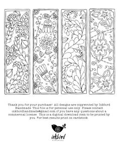 Floral Coloring Bookmarks - Digital Download - Adult Coloring - Floral Doodles