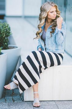Amazing stripe maxi skirt that is so comfy you will live in it. It has a slit up the back. Super stretchy. No Slip Needed! Model is wearing a size small. Paired here with: Fitted Denim Jacket - Forge