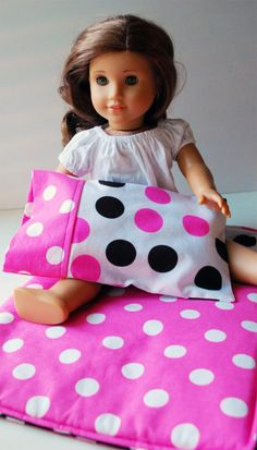 """18"""" Doll Sleepover Set, could make matching pillowcase and sheets like her bedding"""