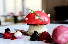 Vanilla cheese cake with almond panna cotta with hazelnut croccantino biscuit and wild berries ice cream