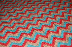 Coral and Turquoise Chevron Blanket-SO pretty!  Love the colors and love the stitch!