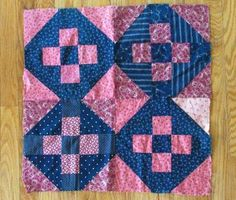 Antique c1880 Little Doll Quilt or Table Quilt Top Double Pink Indigo Blue | eBay, vintageblessings