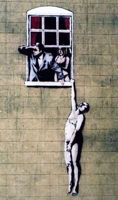 naked man, banksy