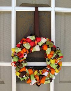 DIY fall wreath--ribbon wreath from LDS Craft Project blog