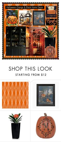 """""""Orange & Black home decor contest"""" by summer-marin ❤ liked on Polyvore featuring interior, interiors, interior design, home, home decor, interior decorating, Robert Allen, WALL and Lechuza"""