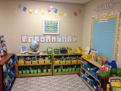 Classroom library with posters from A Year of Many Firsts