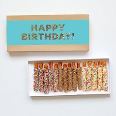 Happy Birthday Gift Box - 15 Piece by Fatty Sundays - Goldbelly 5th Birthday Cake, Happy Birthday Gifts, Birthday Box, Chocolate Covered Pretzels, Chocolate Box, Preschool Snacks, Gifts Delivered, Gourmet Gifts, Foil Stamping