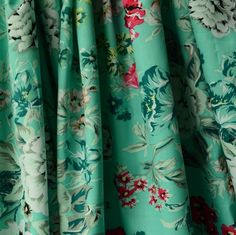 Aqua Floral Tropical Cotton Poplin Fabric