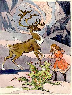Ганс Христиан Андерсен - Снежная королева (иллюстрация Валерия Алфеевского) Но олень не смел остановиться, пока не добежал до куста с красными ягодами; тут он спустил девочку, поцеловал её в самые губы, и из глаз его покатились крупные блестящие слёзы. Затем он стрелой пустился назад. Бедная девочка осталась одна-одинёшенька, на трескучем морозе, без башмаков, без рукавиц.
