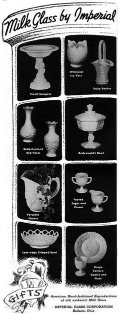 Milk Glass IMPERIAL Grape Pattern BRIDESMAID BOWL Bud Vases MAGAZINE AD 1954