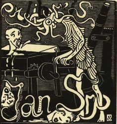 Josef Váchal - Ex libris Jan Srp. Ex Libris, Locuciones Latinas, Black And White Design, Book Nerd, Figure Painting, Contemporary Artists, Book Worms, Art History, Printmaking