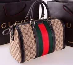 """Gucci bags now come in a number of sizes, shapes, colors, and designs. They are made and marketed throughout the world bearing the name """"Gucci"""" and a reputation for quality and design. Gucci Purses, Gucci Bags, Chanel Handbags, Fashion Handbags, Fashion Bags, Leather Handbags, Gucci Gucci, Leather Totes, Fabric Handbags"""