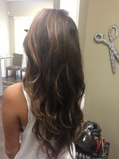 V cut hair with caramel colored highlights <3 Yessss dream haircut!