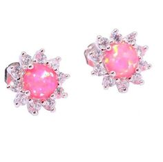 EARRINGS FLOWER PINK FIRE OPAL GLENDA